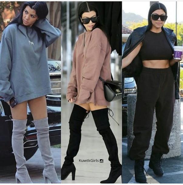 9f8nem-l-610x610-shoes-kourtneykardashian-kneehighboots-thighhighboots-cute-stylish-boots-blackheels-blackboots-suedeboots-greyboots-chunkyheels-fashion-fashionista-kardashians
